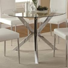 round table santee ca vance glass top dining table with unique chrome base 120760 qlx1