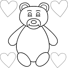 teddy bear with four hearts coloring page mother u0027s day