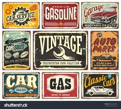Classic Car Parts - vintage transportation signs collection car service stock vector