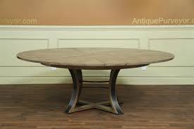Round 54 Inch Dining Table Jupe Table Transitional Jupe Table With Hammered Iron Gray Oak