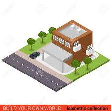 flat 3d isometric creative two floor small business office condo