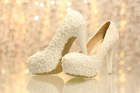 wedding shoes jakarta ws004 lace chunky heel closed toe with pearl wedding bridal shoes