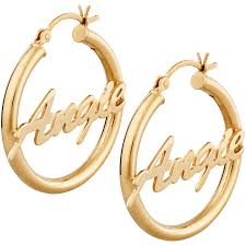 14kt gold earrings personalized 14kt gold plated sterling silver name hoop earrings