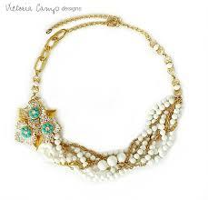 gold vintage statement necklace images Strand gold white and turquoise statement necklace with vintage jpg