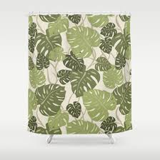 cliff hanger monstera leaf hawaiian print shower curtain by drive