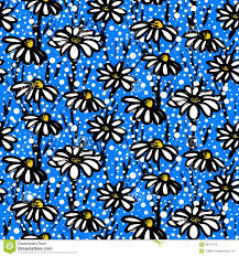 vector pattern with hand drawn daisy flowers royalty free stock