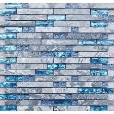 Glass Tiles For Kitchen Backsplashes Blue Glass Stone Mosaic Wall Tiles Gray Marble Tile Kitchen