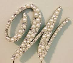 w cake topper pearls and rhinestones commercial script monogram cake topper