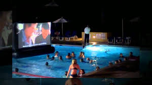 Inflatable Backyard Pools by Aquascreen A Floating Inflatable Movie Screen For Your Swimming