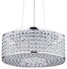 Modern Contemporary Pendant Lighting Chandeliers Round Drum Crystal Shade Chandelier Chrome