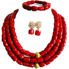 coral necklace images Laanc 3 rows nigerian wedding coral necklace earrings jpg