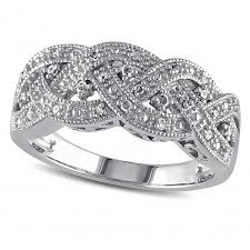 braided ring diamond band weaved braided crossover ring sterling silver 0 13ct