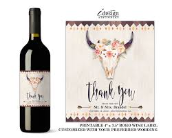 wine themed gifts boho wedding wine label printable bridal party gifts with