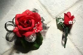 Red Prom Corsage Beautiful Prom Corsage And Boutonniere A Fabric Bracelet No