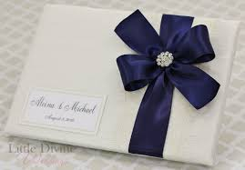 ivory wedding guest book wedding guest book ivory navy blue custom made in by littledivine