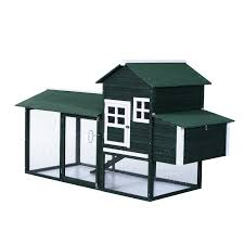 pawhut wooden backyard poultry hen house chicken coop green