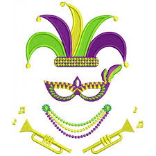 mardi gras jesters gras jester hat and trumpet filled machine embroidery design