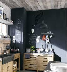 cuisine mur noir meubles de cuisine indépendant et ilot maison du monde