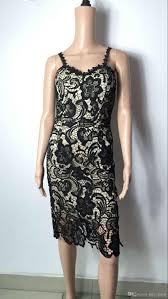 wholesale mid calf lace dress back zipper spaghetti strap dress