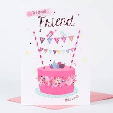 birthday card friend cake only 1 49