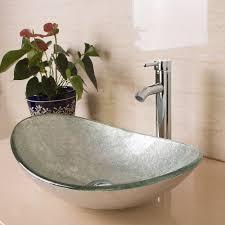 bathroom vessel sink oval artistic glass w chrome faucet u0026 pop up