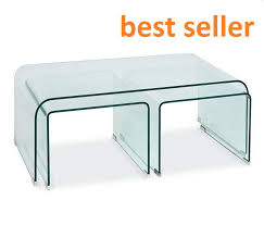 glass coffee table set of 3 bent glass coffee table incredible tempered set nt006 nest in 2