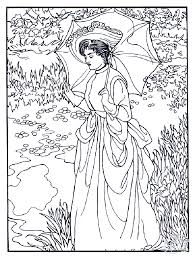 manet woman with umbrella art coloring pages for adults