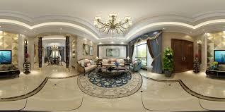 panoramic european style living room restaurant space 3d model max tga