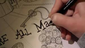inking alice wonderland drawing