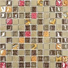 burgundy brown gold glass mosaic kitchen backsplash tile