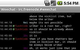 android irc weechat about features