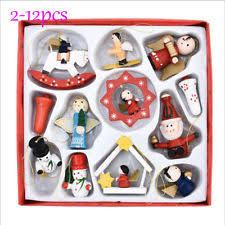Wooden Toy Christmas Tree Decorations - 12 traditional angel rocking horse drum toys christmas tree