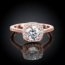 pretty gold rings images Eternity love women 39 s pretty 18k rose gold plated princess cut cz jpg