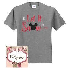 let it snow mickey mouse glitter christmas tshirt disney