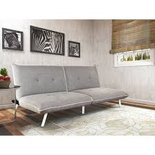 sofa for tall person mainstays extra large futon with contrast piping grey white