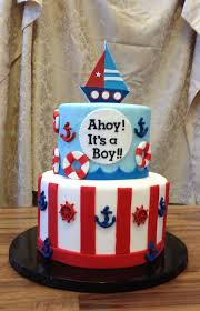 nautical baby shower cakes ahoy it s a boy baby shower cake wenny flickr