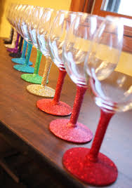 paint a rainbow theme dip the stems of your wine glasses in