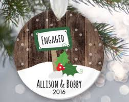 just engaged ornament engagement gift personalized christmas