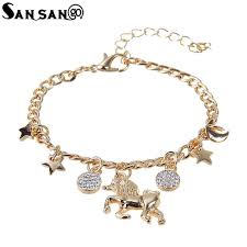 charms bracelet design images New design silver gold cute unicorn charms bracelet with moon star jpg