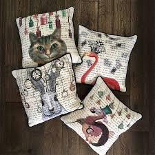white rabbit alice in wonderland cushion by fabfunky home decor