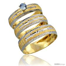 gold wedding rings sets for him and 10k gold 3 trio light blue sapphire wedding ring set him