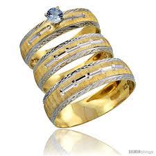 wedding rings sets for 10k gold 3 trio light blue sapphire wedding ring set him