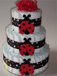 Ladybug Themed Baby Shower Cakes - baby shower diaper cake ideas ladybug diapers and cake