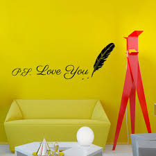 writing ps love you feather wall sticker design vinyl removable writing ps love you feather wall sticker design vinyl removable creative home decor living room wall decal personalized wall stickers polka dot wall decals