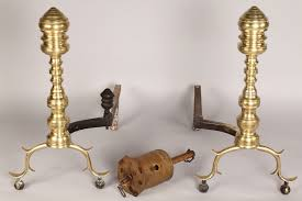 lot 690 federal andirons and brass roasting jack