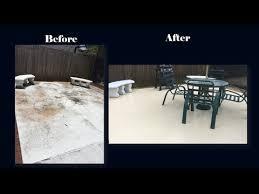 Refinishing Concrete Patio Diy Refinishing A Concrete Patio Floor Youtube