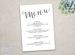 dinner menu template wedding menu dinner custom wedding