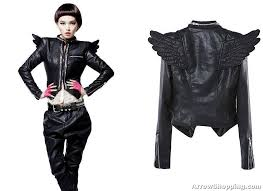 Womens Biker Halloween Costume Punk Leather Biker Jacket U2013 Wing Zipper 0981