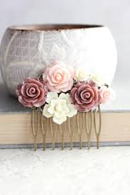 blush pink rose hair comb dark dusty rose floral collage romantic