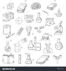 sketches microscope laboratory test tubes flasks stock vector